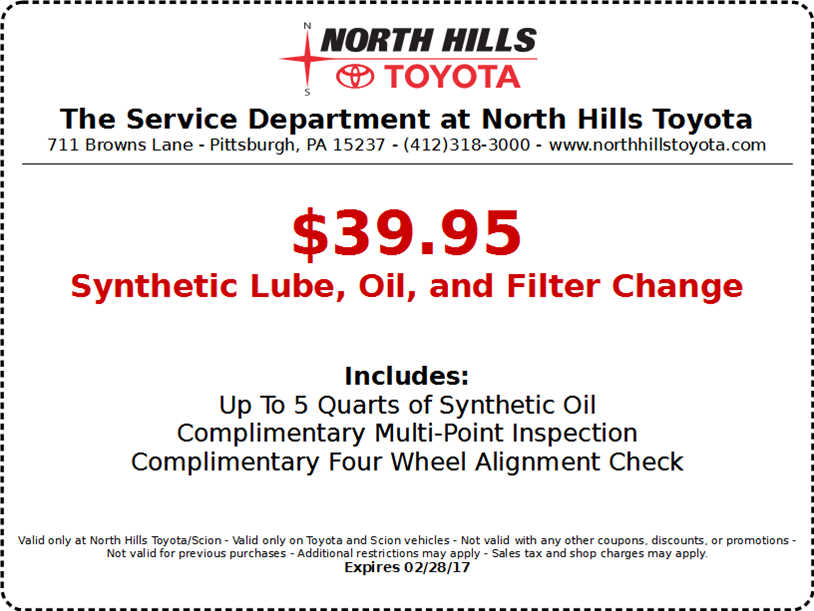 North Hills Toyota Synthetic Lube, Oil, And Filter Change   Western  Pennsylvania Toyota Dealers Service