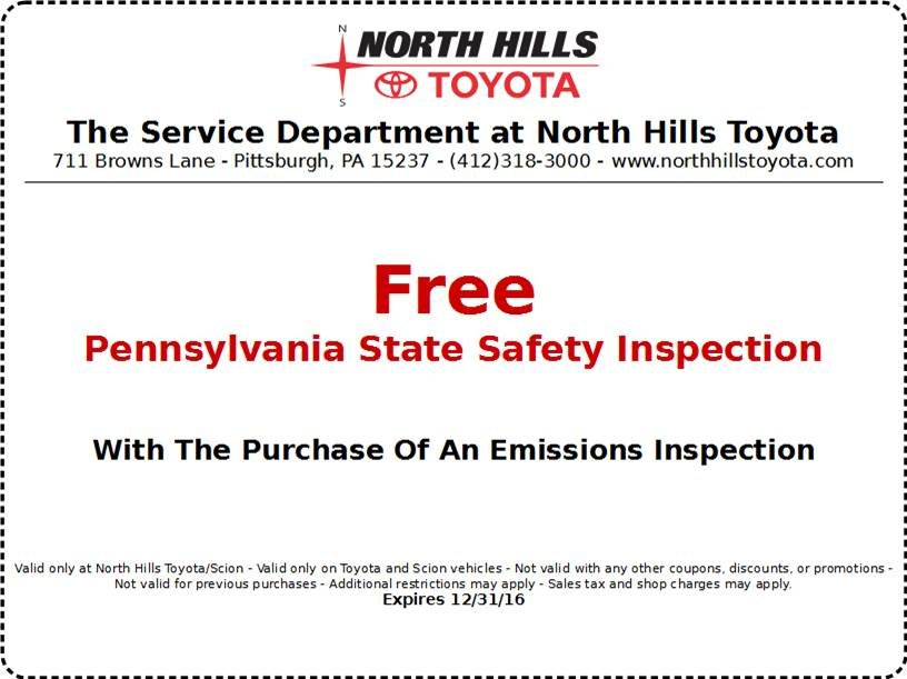 North Hills Toyota Free Pennsylvania State Safety Inspection   Western  Pennsylvania Toyota Dealers Service