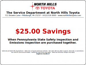 High Quality North Hills Toyota PA State Inspection And Emmisions