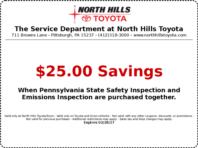 North Hills Toyota PA State Inspection And Emmisions   Western Pennsylvania  Toyota Dealers Service