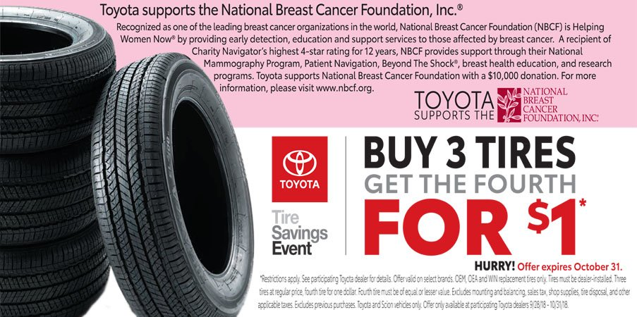 Toyota Tire Sale >> October Tire Special Western Pennsylvania Toyota Dealers Service
